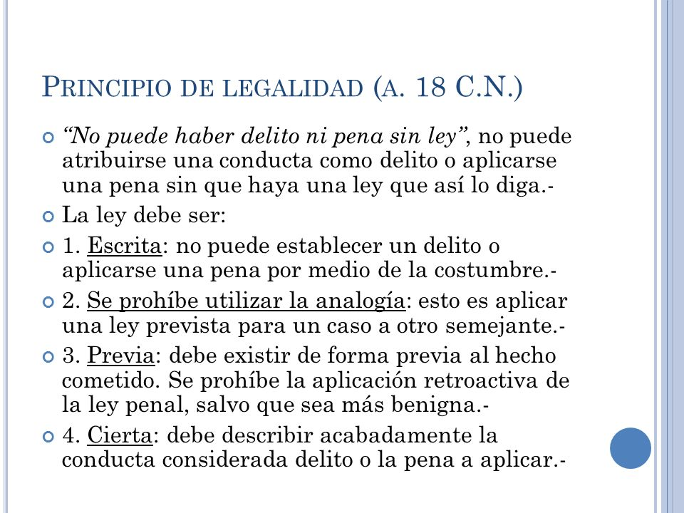 Principio de legalidad (a. 18 C.N.)