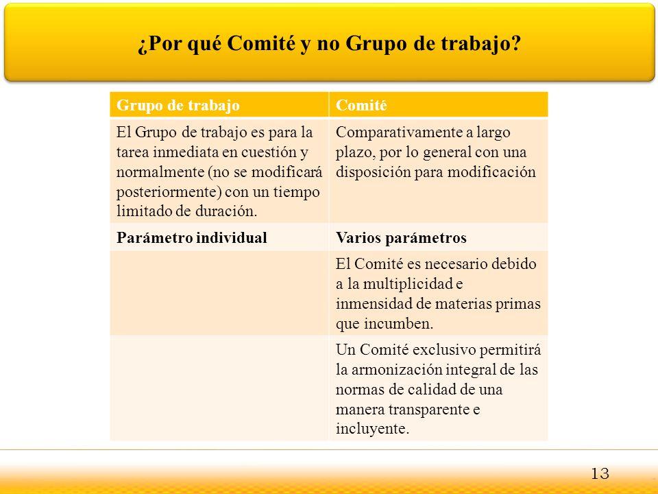 ¿Por qué Comité y no Grupo de trabajo