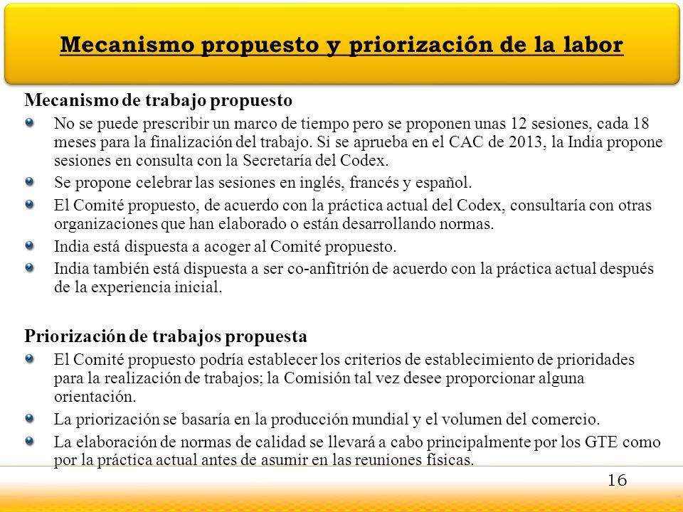 Mecanismo propuesto y priorización de la labor