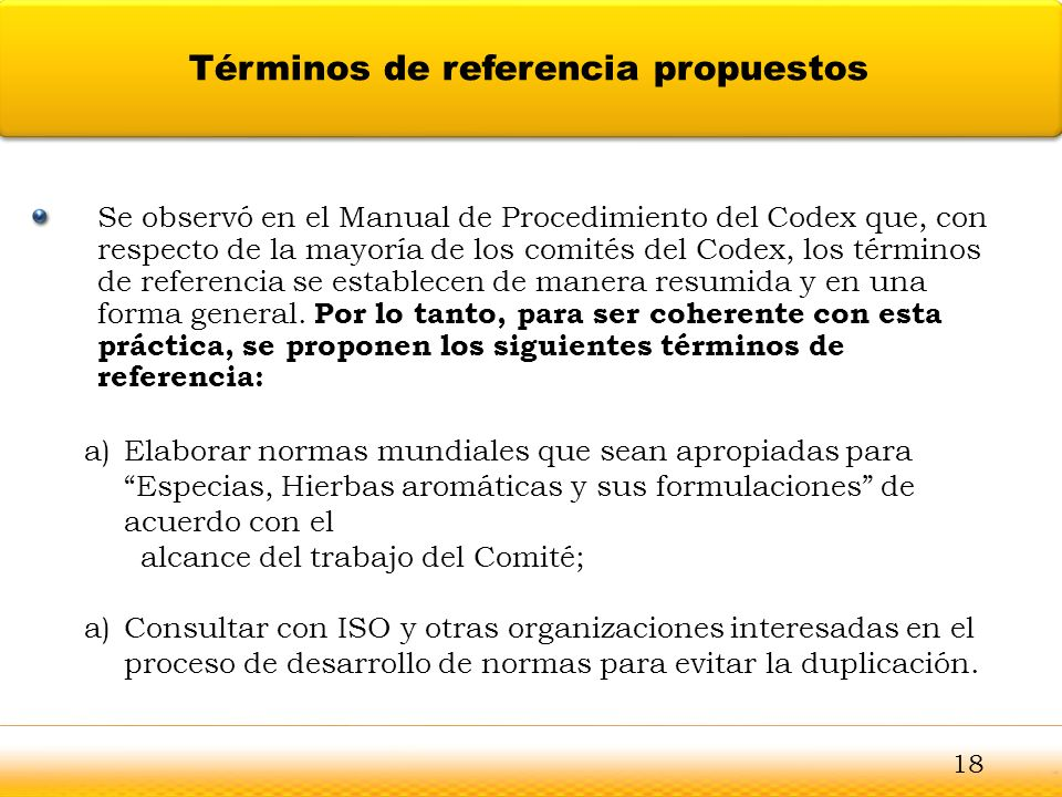Términos de referencia propuestos