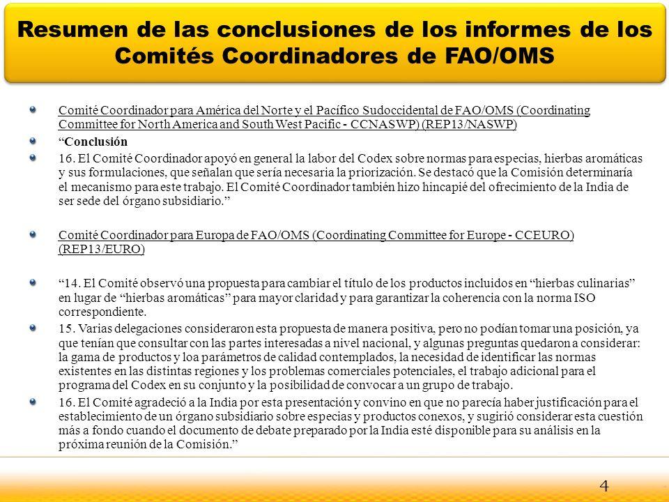 Resumen de las conclusiones de los informes de los Comités Coordinadores de FAO/OMS