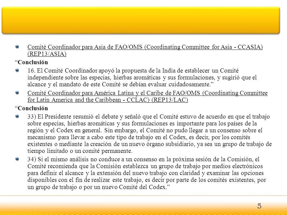 Comité Coordinador para Asia de FAO/OMS (Coordinating Committee for Asia - CCASIA) (REP13/ASIA)