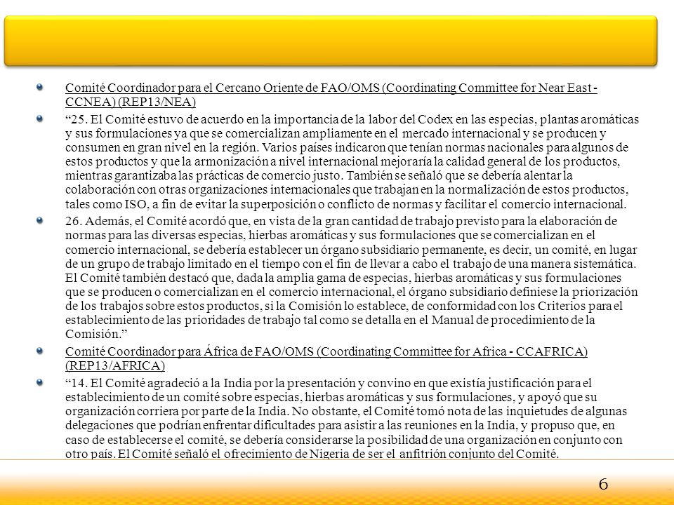 Comité Coordinador para el Cercano Oriente de FAO/OMS (Coordinating Committee for Near East - CCNEA) (REP13/NEA)