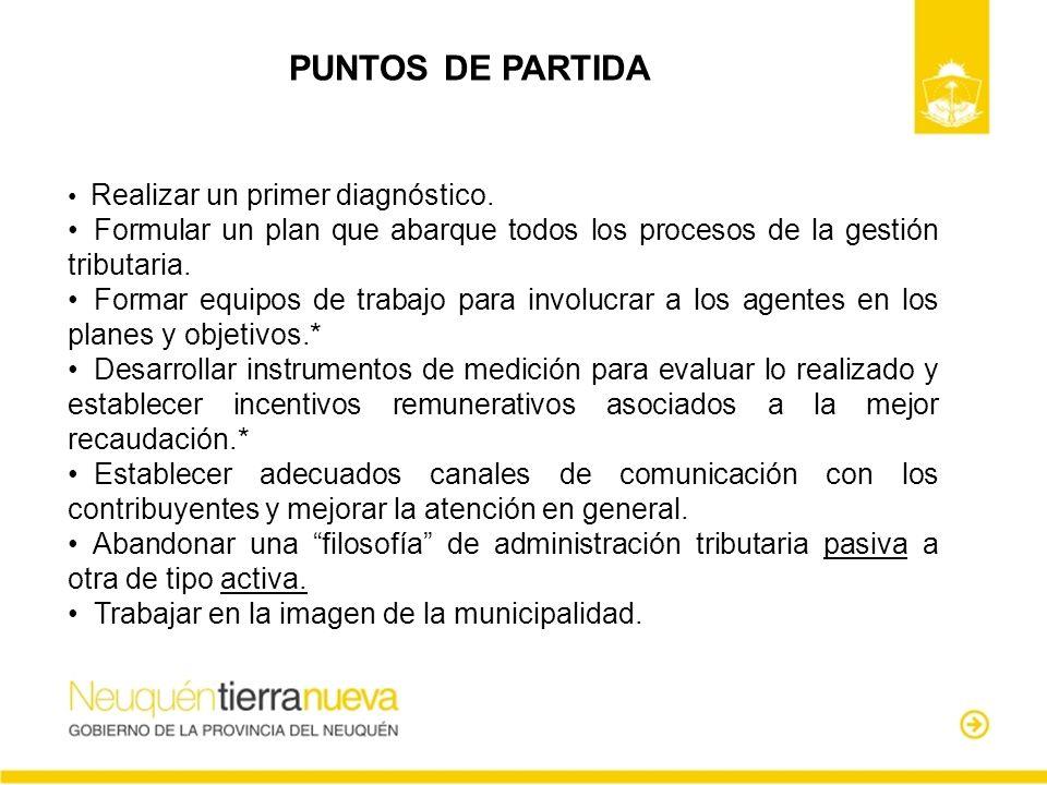 PUNTOS DE PARTIDA Realizar un primer diagnóstico. Formular un plan que abarque todos los procesos de la gestión tributaria.