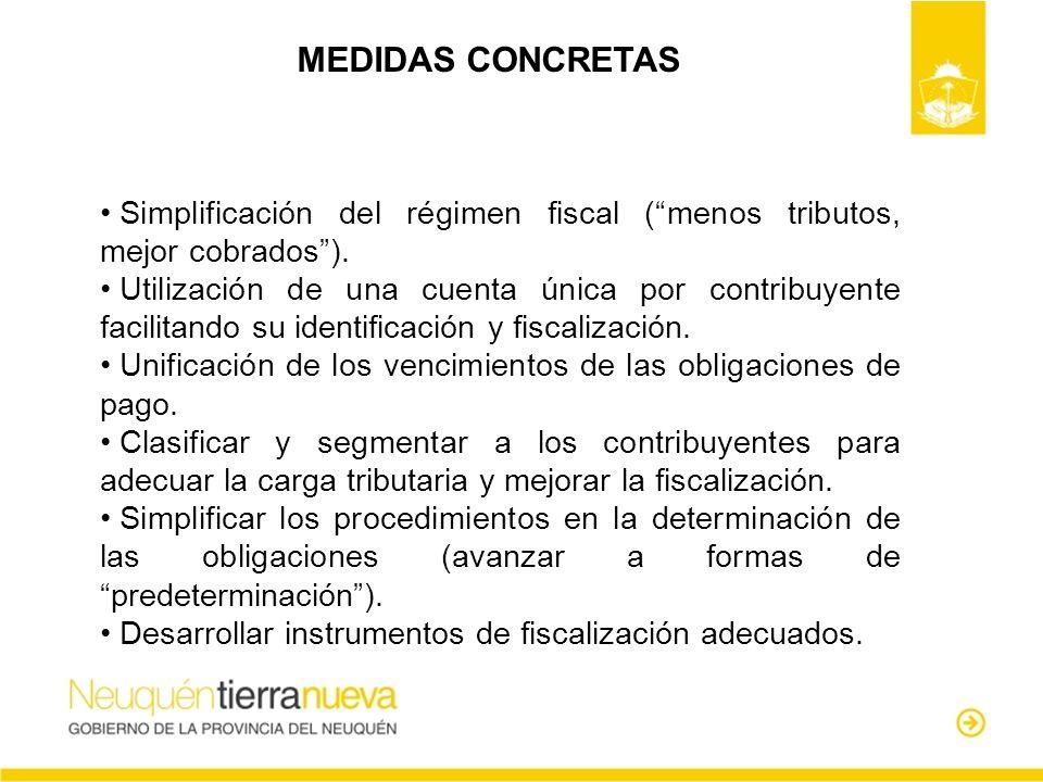 MEDIDAS CONCRETAS Simplificación del régimen fiscal ( menos tributos, mejor cobrados ).