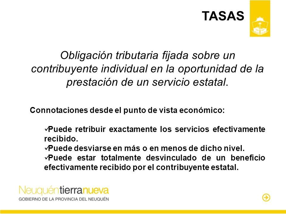 TASAS Obligación tributaria fijada sobre un contribuyente individual en la oportunidad de la prestación de un servicio estatal.