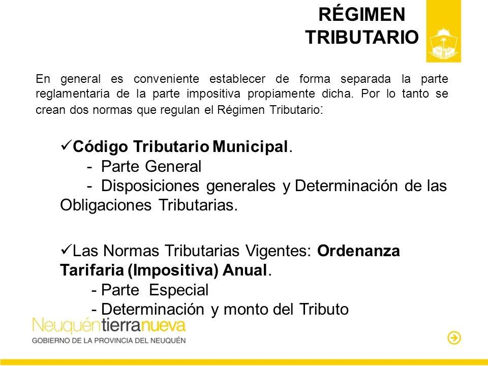 RÉGIMEN TRIBUTARIO Código Tributario Municipal. - Parte General