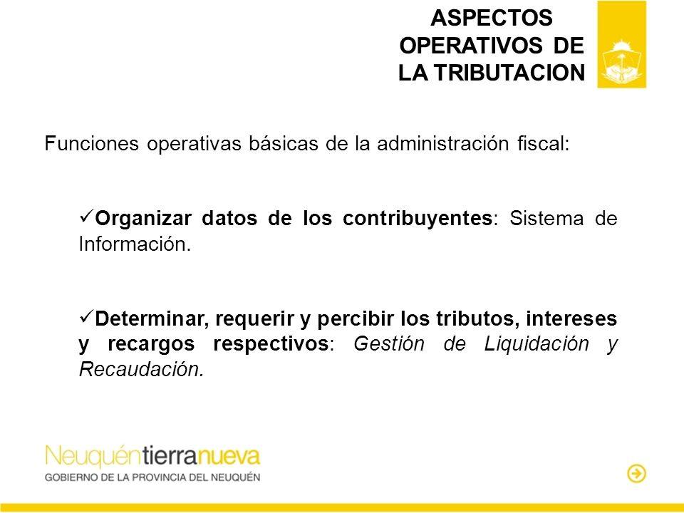 ASPECTOS OPERATIVOS DE LA TRIBUTACION
