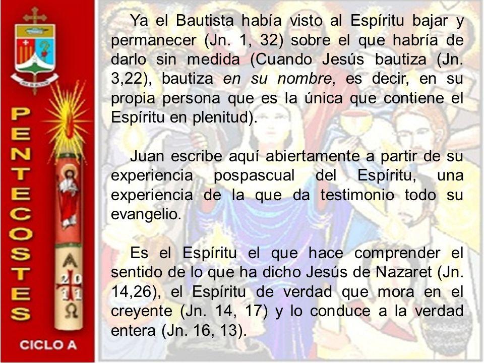 Ya el Bautista había visto al Espíritu bajar y permanecer (Jn