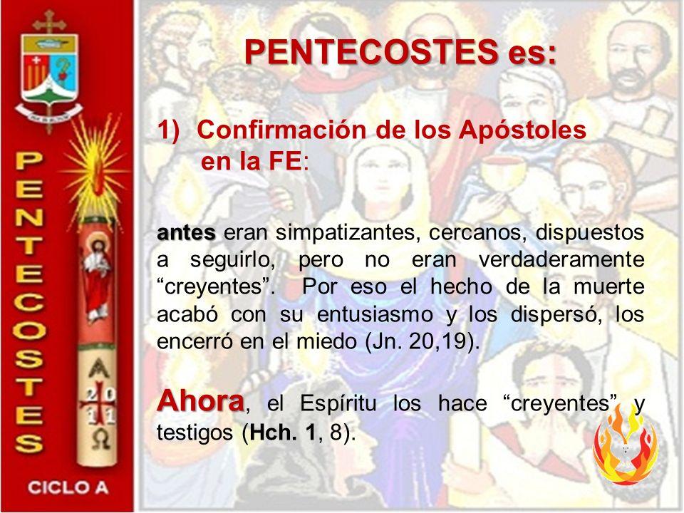 PENTECOSTES es: Confirmación de los Apóstoles. en la FE: