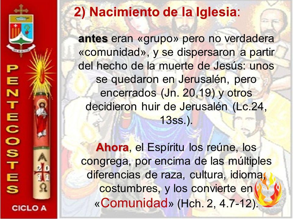 2) Nacimiento de la Iglesia: