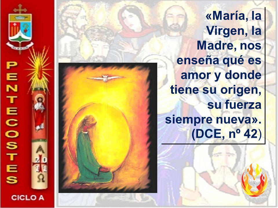 «María, la Virgen, la Madre, nos enseña qué es amor y donde tiene su origen, su fuerza siempre nueva».