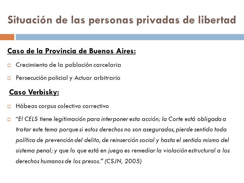 Situación de las personas privadas de libertad