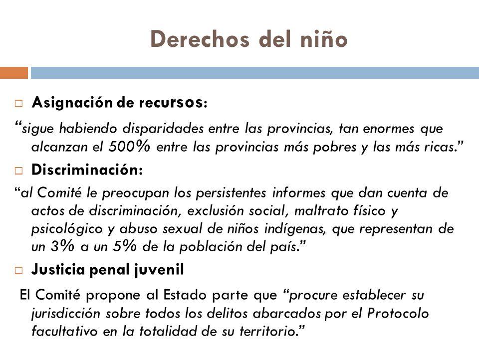 Derechos del niño Asignación de recursos: