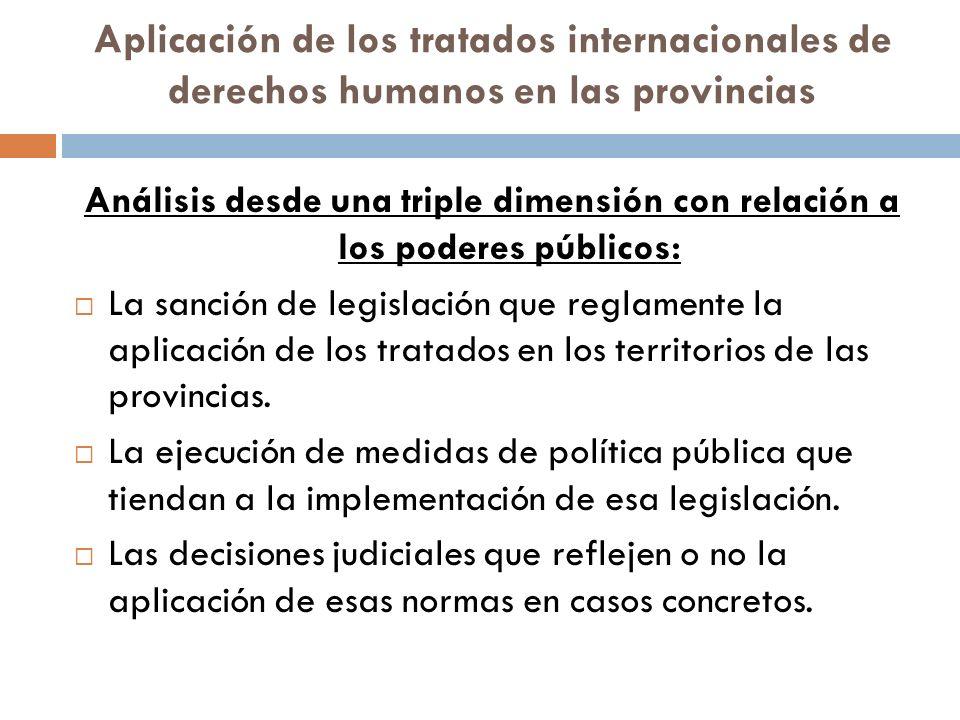 Aplicación de los tratados internacionales de derechos humanos en las provincias