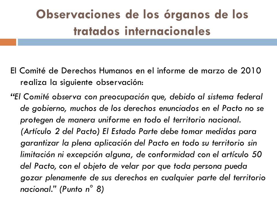 Observaciones de los órganos de los tratados internacionales