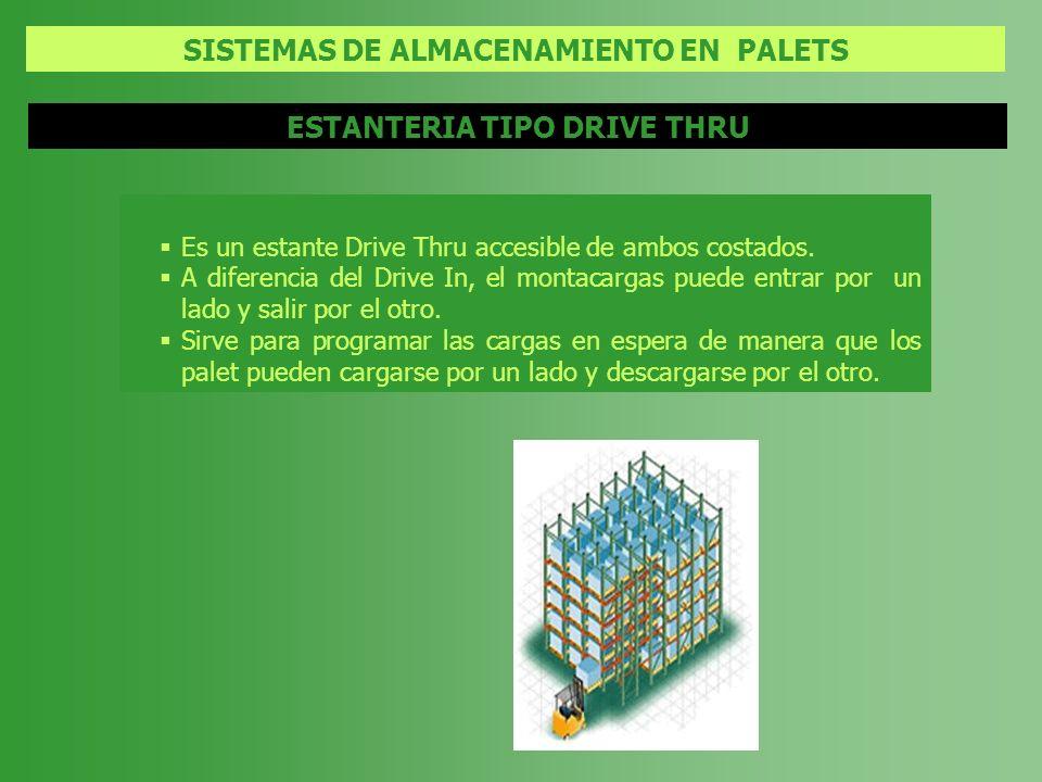 SISTEMAS DE ALMACENAMIENTO EN PALETS ESTANTERIA TIPO DRIVE THRU