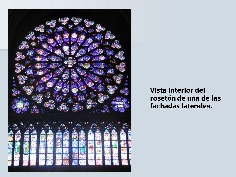 Vista interior del rosetón de una de las fachadas laterales.