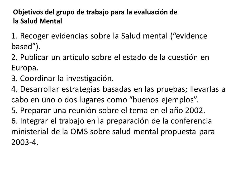 1. Recoger evidencias sobre la Salud mental ( evidence based ).