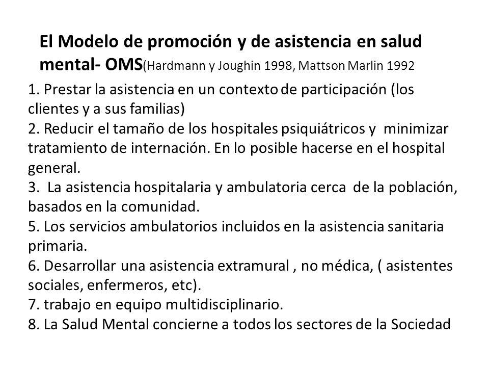 El Modelo de promoción y de asistencia en salud mental- OMS(Hardmann y Joughin 1998, Mattson Marlin 1992