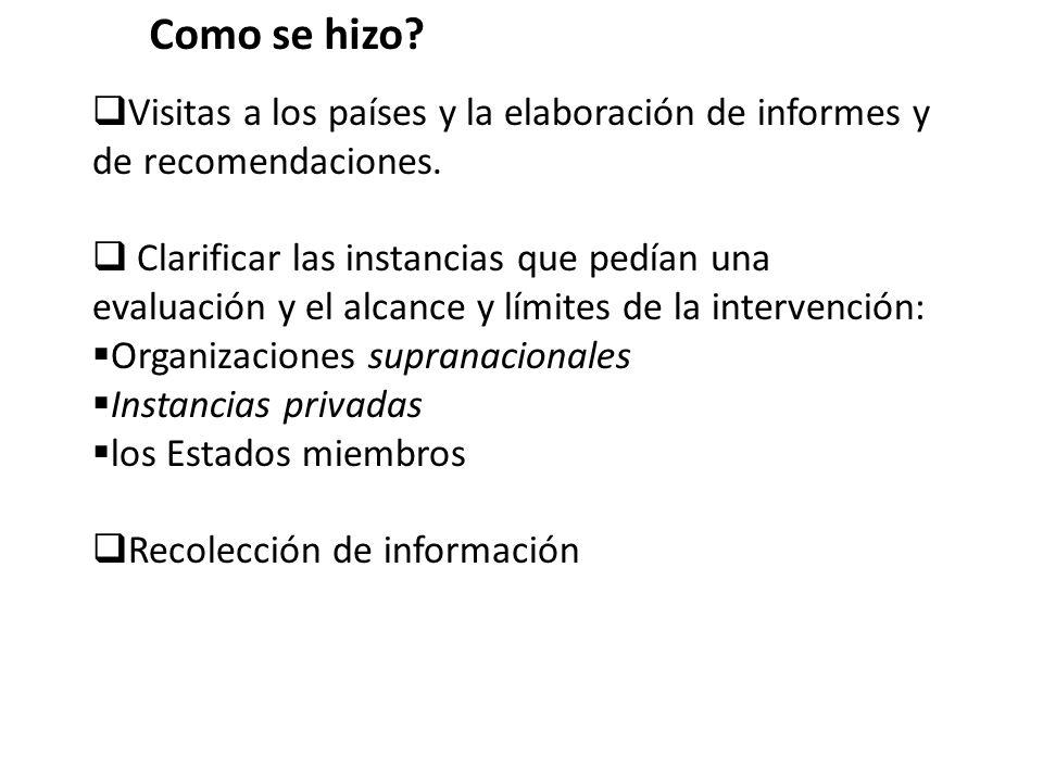 Como se hizo Visitas a los países y la elaboración de informes y de recomendaciones.