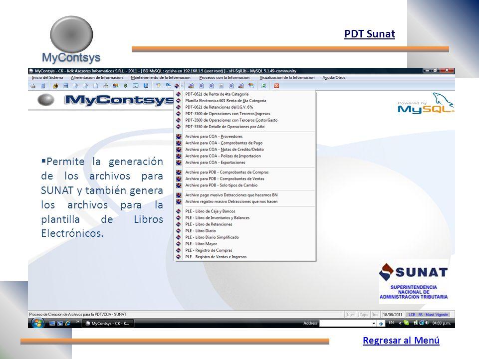 MyContsys PDT Sunat. Permite la generación de los archivos para SUNAT y también genera los archivos para la plantilla de Libros Electrónicos.