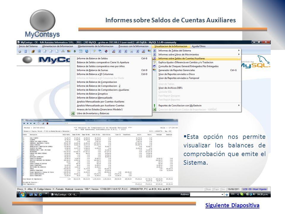 Informes sobre Saldos de Cuentas Auxiliares Siguiente Diapositiva