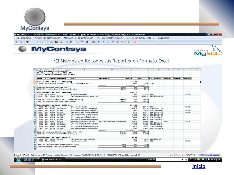 MyContsys El Sistema emite todos sus Reportes en Formato Excel Inicio