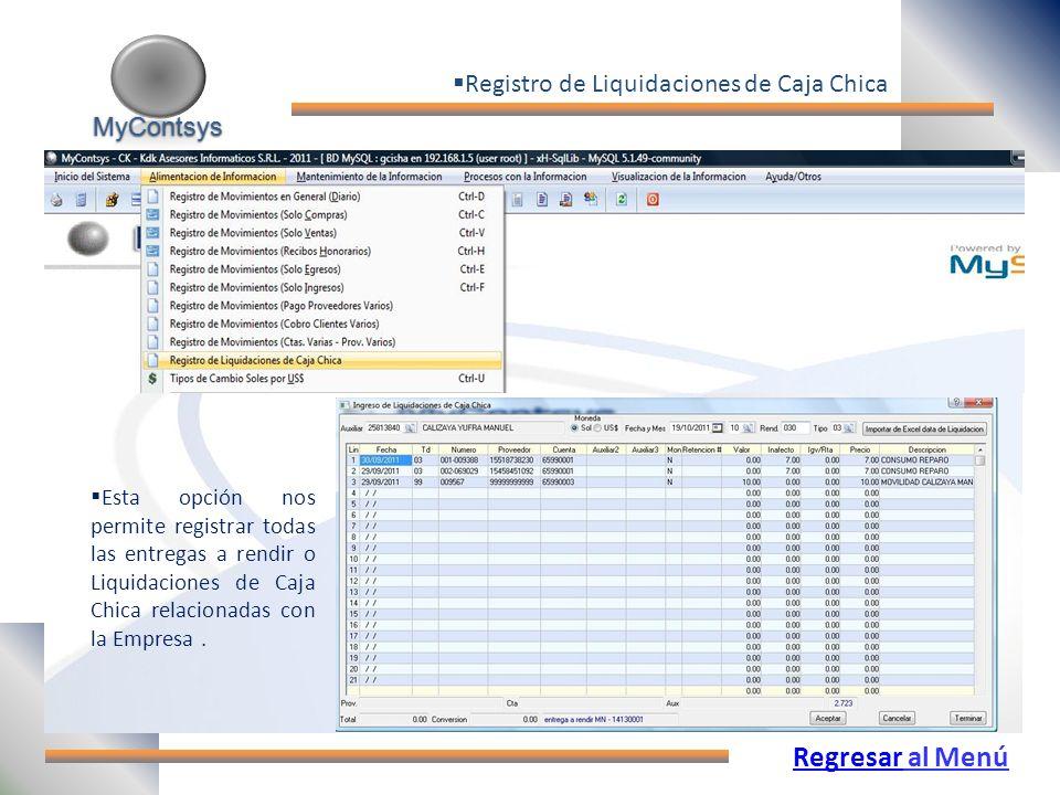 Regresar al Menú Registro de Liquidaciones de Caja Chica MyContsys