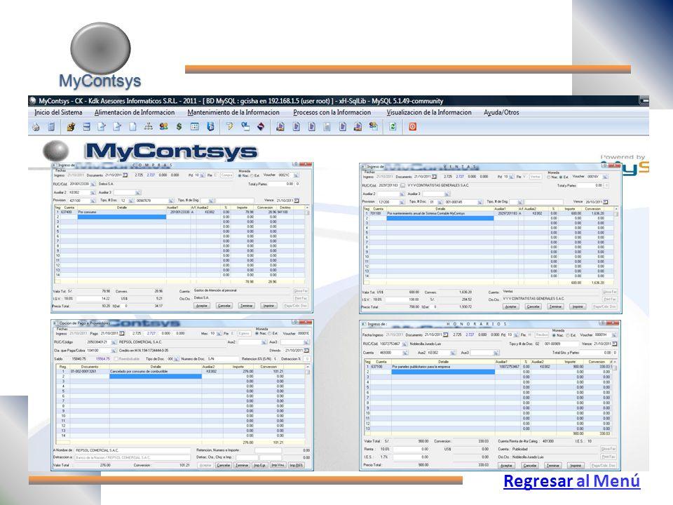 MyContsys Regresar al Menú