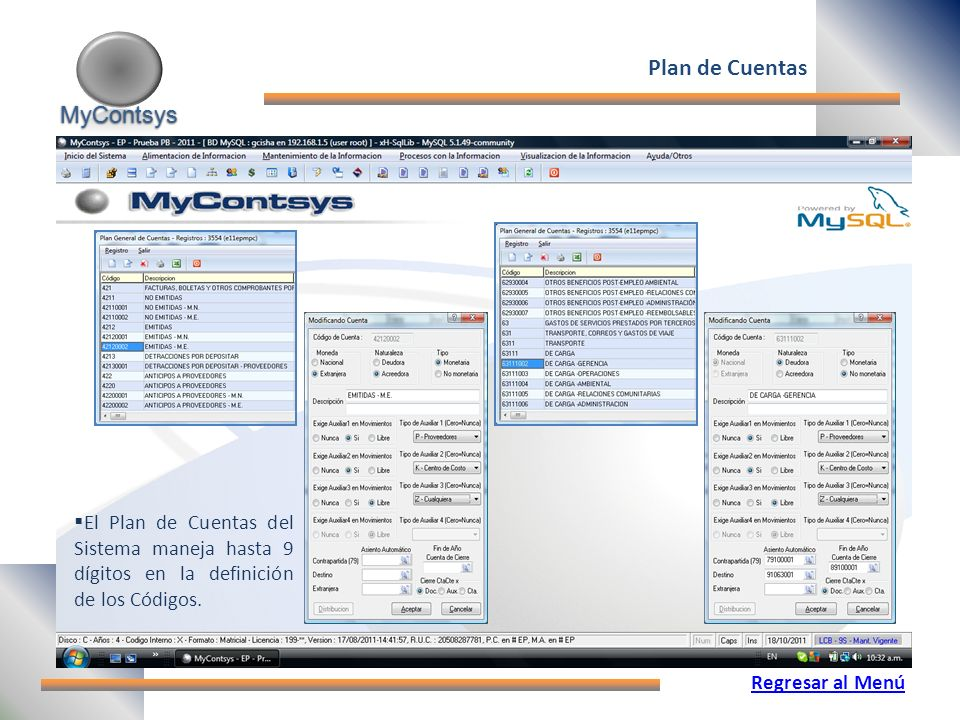 Plan de Cuentas MyContsys
