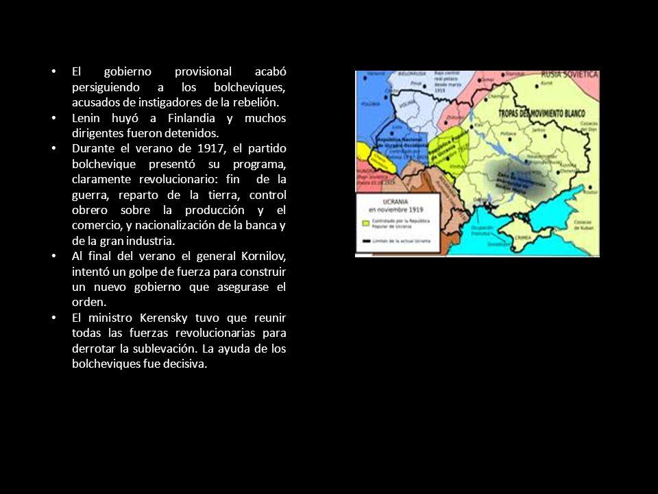 El gobierno provisional acabó persiguiendo a los bolcheviques, acusados de instigadores de la rebelión.