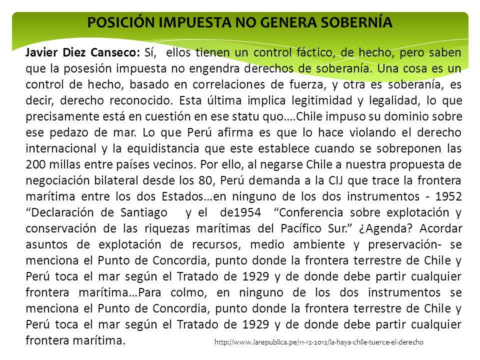 POSICIÓN IMPUESTA NO GENERA SOBERNÍA