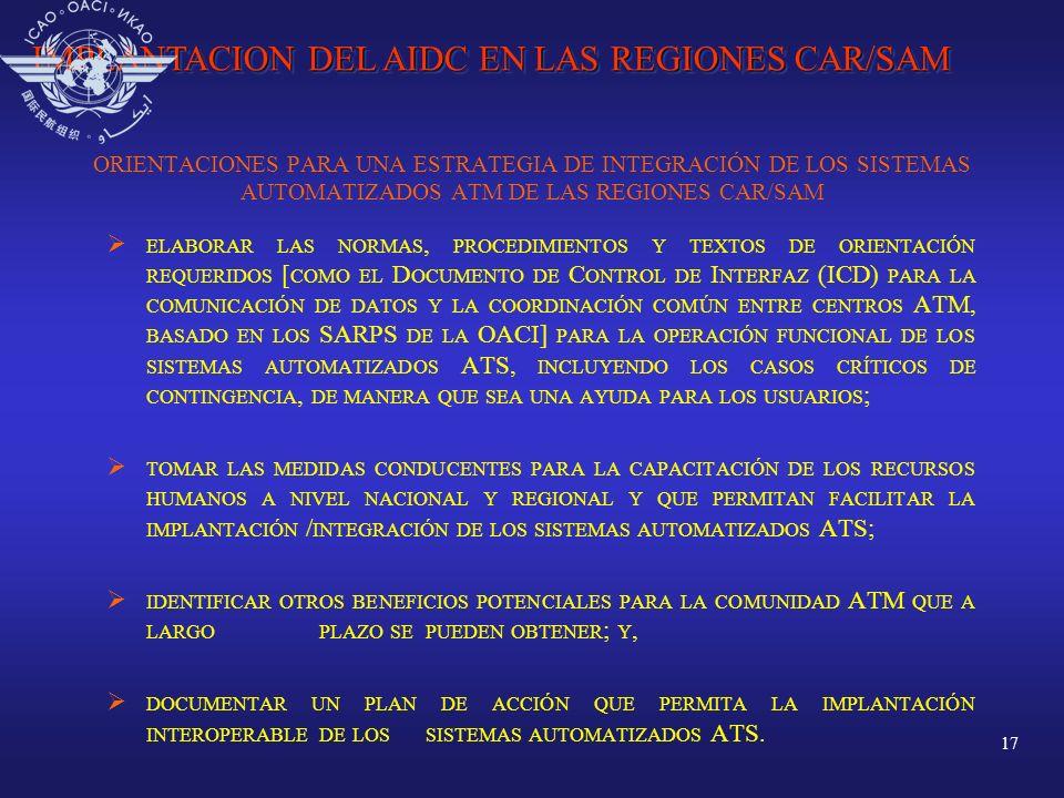 IMPLANTACION DEL AIDC EN LAS REGIONES CAR/SAM