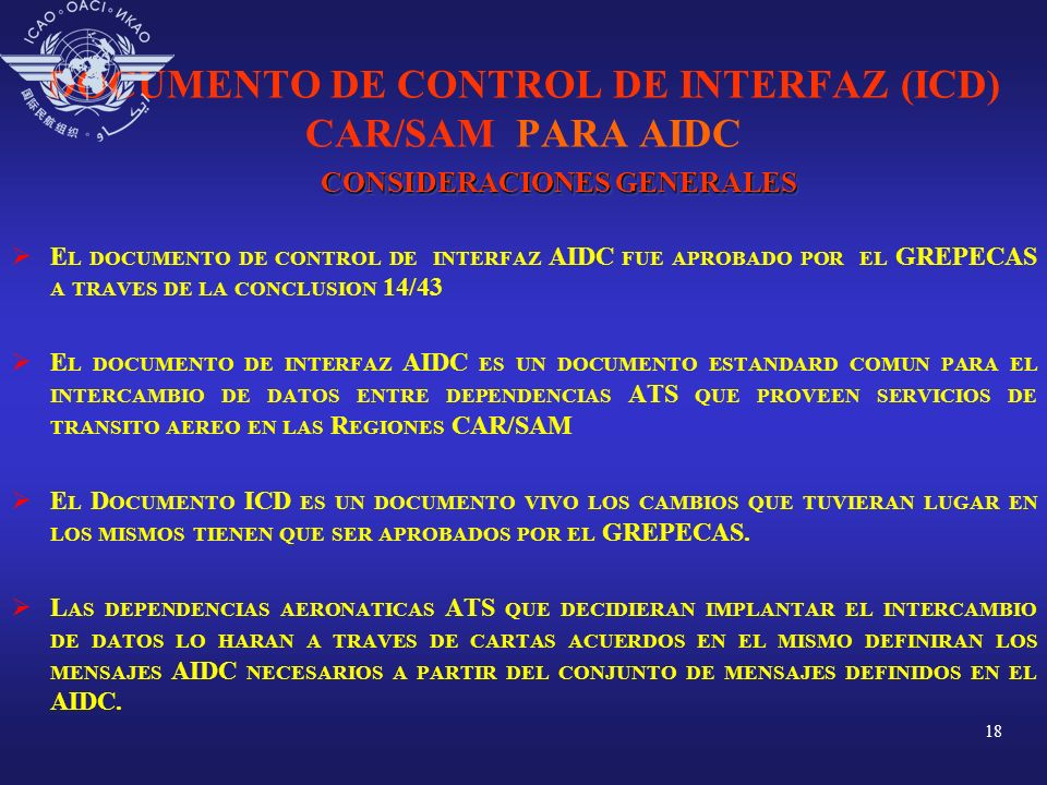 DOCUMENTO DE CONTROL DE INTERFAZ (ICD) CAR/SAM PARA AIDC