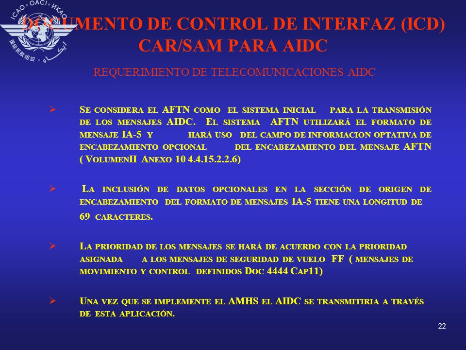 DOCUMENTO DE CONTROL DE INTERFAZ (ICD) CAR/SAM PARA AIDC REQUERIMIENTO DE TELECOMUNICACIONES AIDC