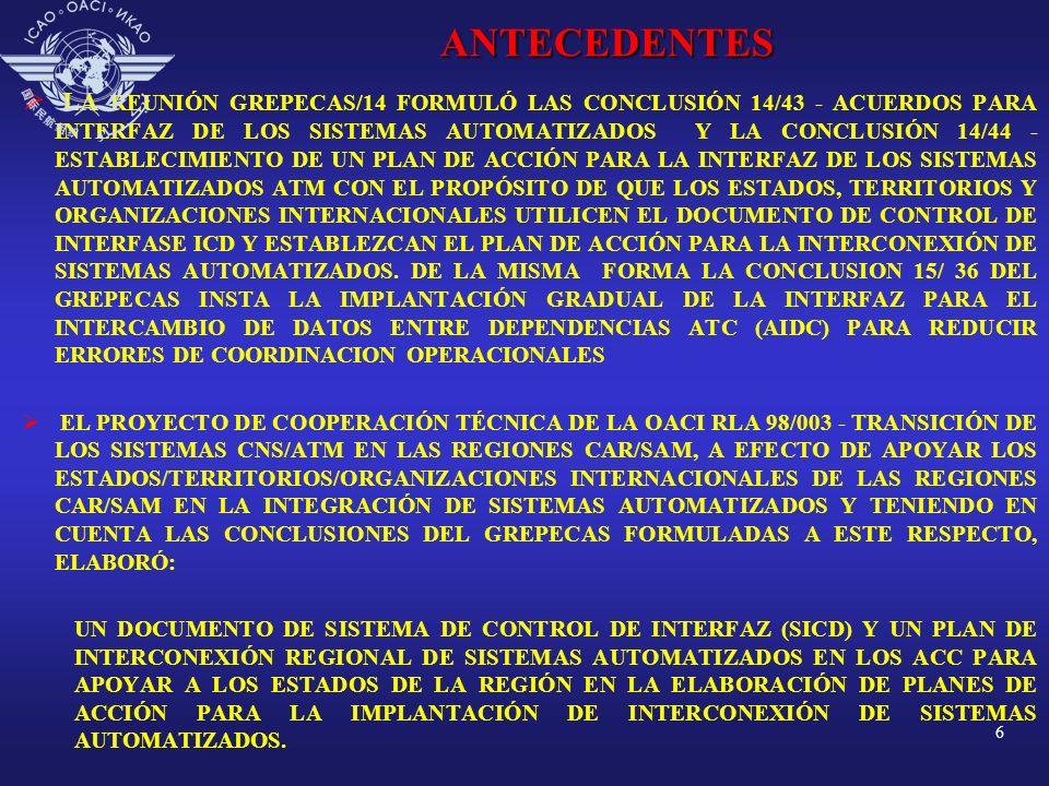 LA REUNIÓN GREPECAS/14 FORMULÓ LAS CONCLUSIÓN 14/43 - ACUERDOS PARA INTERFAZ DE LOS SISTEMAS AUTOMATIZADOS Y LA CONCLUSIÓN 14/44 - ESTABLECIMIENTO DE UN PLAN DE ACCIÓN PARA LA INTERFAZ DE LOS SISTEMAS AUTOMATIZADOS ATM CON EL PROPÓSITO DE QUE LOS ESTADOS, TERRITORIOS Y ORGANIZACIONES INTERNACIONALES UTILICEN EL DOCUMENTO DE CONTROL DE INTERFASE ICD Y ESTABLEZCAN EL PLAN DE ACCIÓN PARA LA INTERCONEXIÓN DE SISTEMAS AUTOMATIZADOS. DE LA MISMA FORMA LA CONCLUSION 15/ 36 DEL GREPECAS INSTA LA IMPLANTACIÓN GRADUAL DE LA INTERFAZ PARA EL INTERCAMBIO DE DATOS ENTRE DEPENDENCIAS ATC (AIDC) PARA REDUCIR ERRORES DE COORDINACION OPERACIONALES