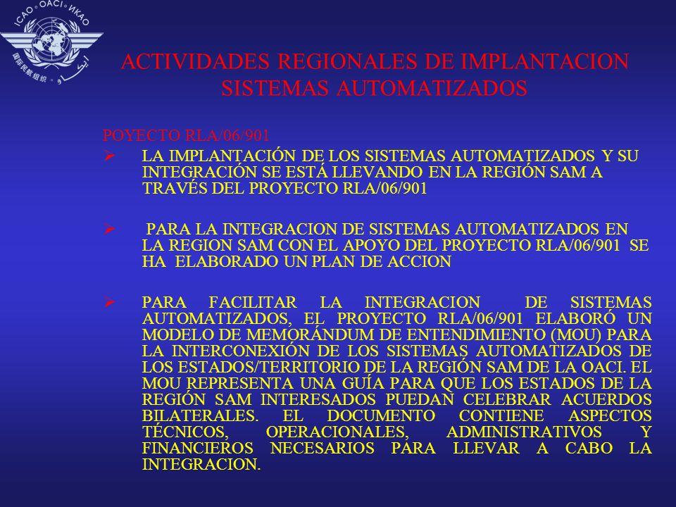 ACTIVIDADES REGIONALES DE IMPLANTACION SISTEMAS AUTOMATIZADOS