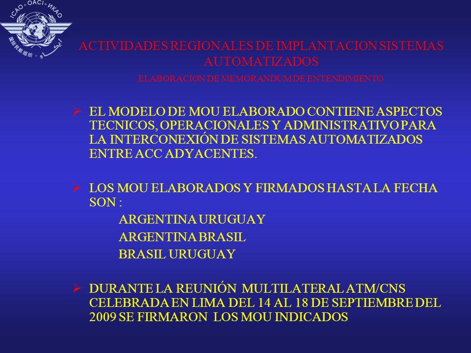 ACTIVIDADES REGIONALES DE IMPLANTACION SISTEMAS AUTOMATIZADOS ELABORACION DE MEMORANDUM DE ENTENDIMIENTO
