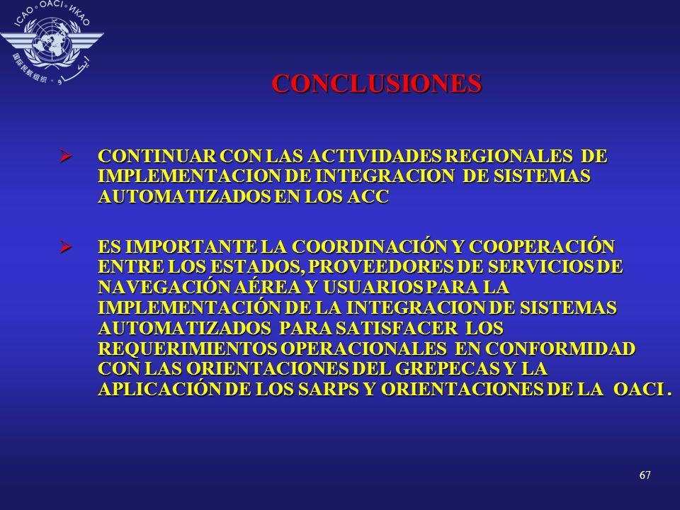 CONCLUSIONES CONTINUAR CON LAS ACTIVIDADES REGIONALES DE IMPLEMENTACION DE INTEGRACION DE SISTEMAS AUTOMATIZADOS EN LOS ACC.
