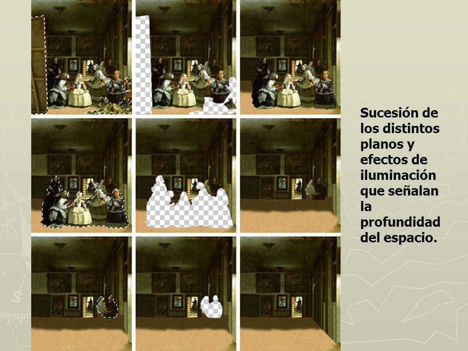 Sucesión de los distintos planos y efectos de iluminación que señalan la profundidad del espacio.