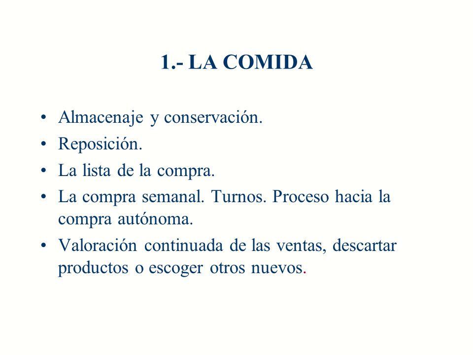 1.- LA COMIDA Almacenaje y conservación. Reposición.