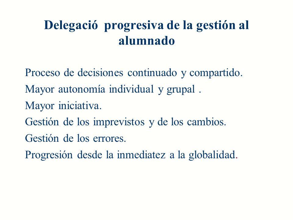 Delegació progresiva de la gestión al alumnado