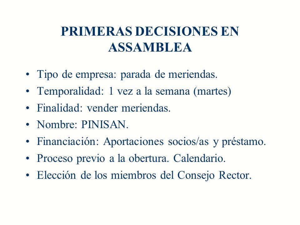 PRIMERAS DECISIONES EN ASSAMBLEA