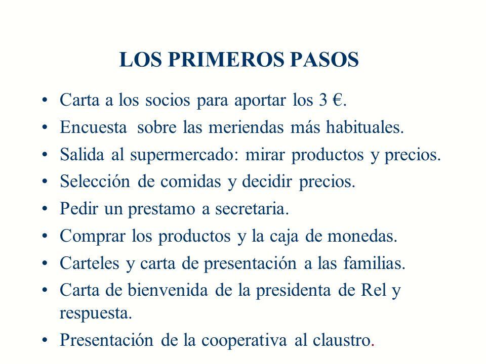 LOS PRIMEROS PASOS Carta a los socios para aportar los 3 €.
