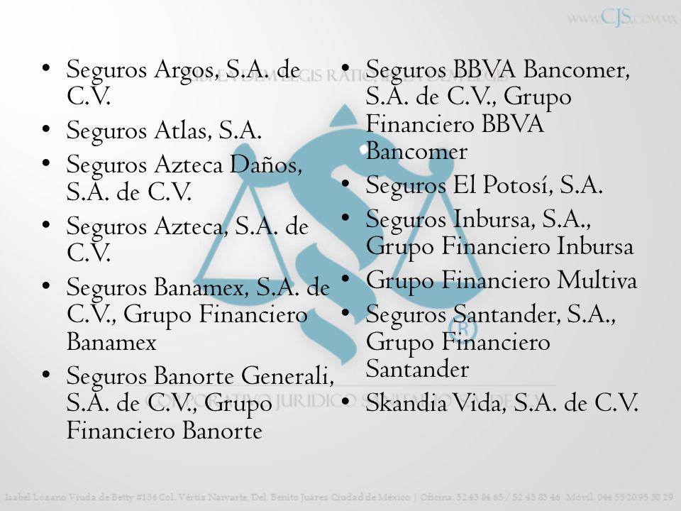 Seguros Argos, S.A. de C.V. Seguros BBVA Bancomer, S.A. de C.V., Grupo Financiero BBVA Bancomer. Seguros Atlas, S.A.
