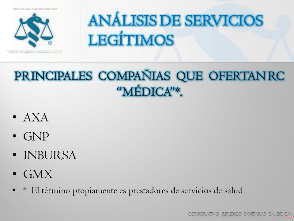 PRINCIPALES COMPAÑIAS QUE OFERTAN RC MÉDICA *.