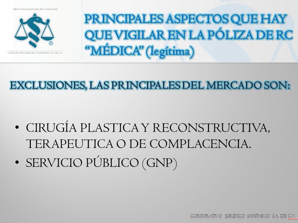 CIRUGÍA PLASTICA Y RECONSTRUCTIVA, TERAPEUTICA O DE COMPLACENCIA.