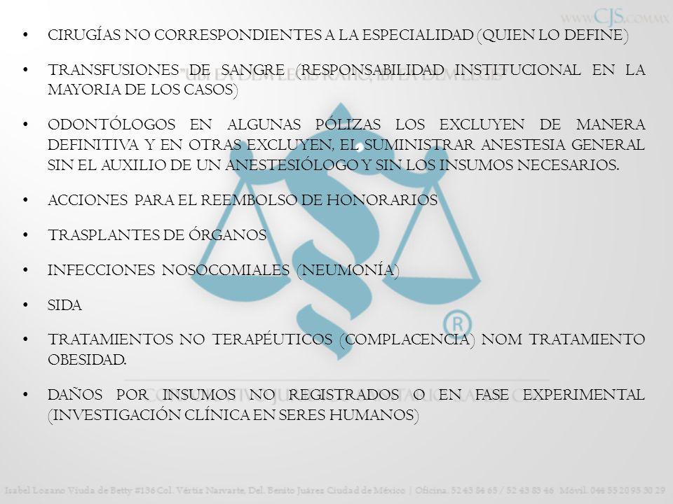 CIRUGÍAS NO CORRESPONDIENTES A LA ESPECIALIDAD (QUIEN LO DEFINE)