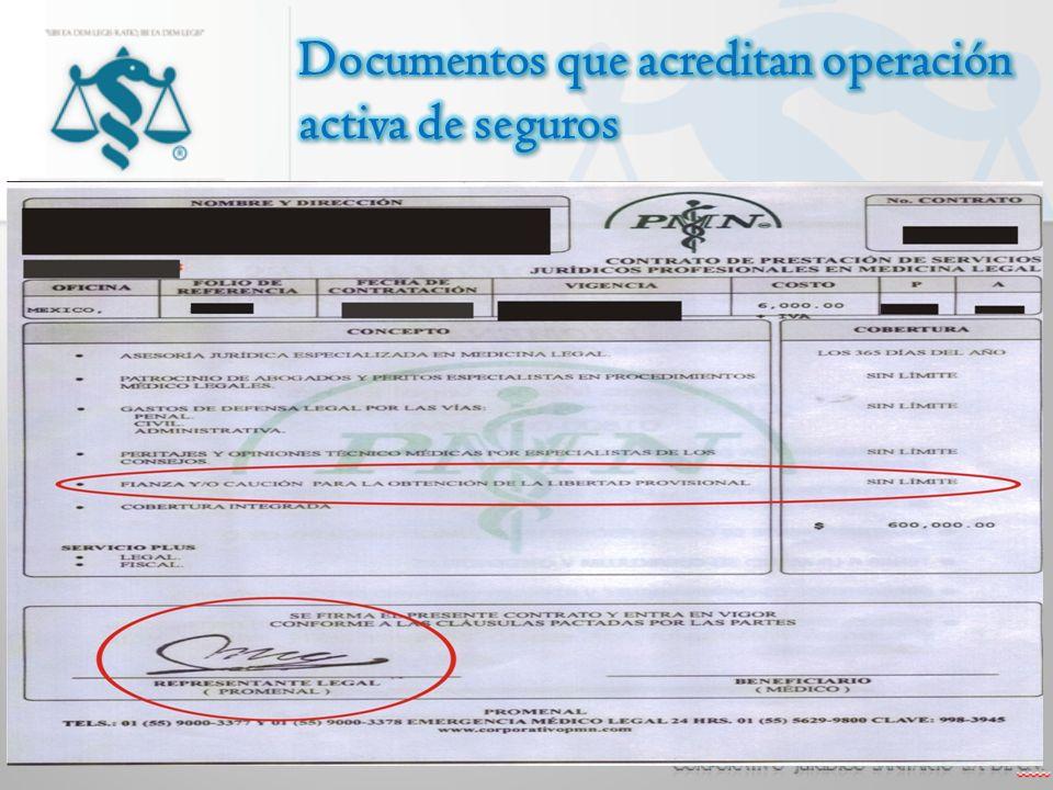 Documentos que acreditan operación activa de seguros